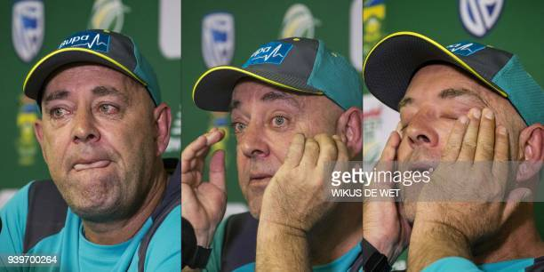 TOPSHOT This combination of pictures created on March 29 2018 shows Head Coach of the Australia cricket team Darren Lehmann wiping his eyes and...