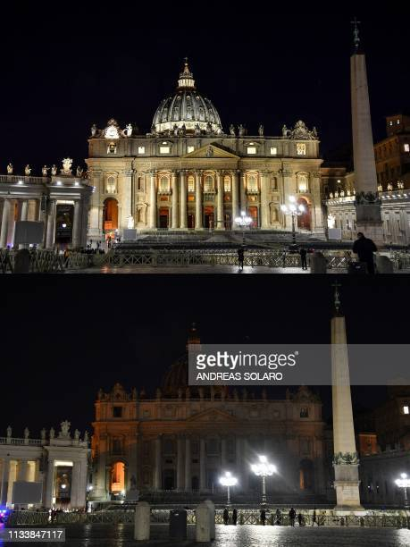 This combination of pictures created on March 30 2019 shows St Peter's basilica before and after being plunged into darkness for the Earth Hour...