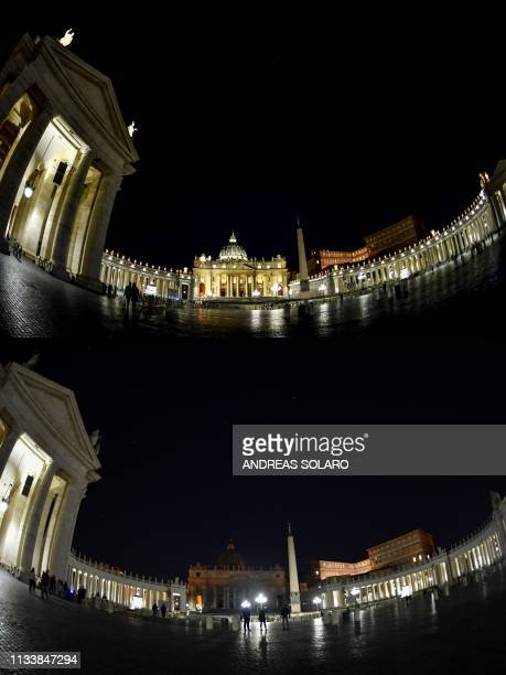 This combination of pictures created on March 30, 2019 shows St. Peter's basilica before and after being plunged into darkness for the Earth Hour...