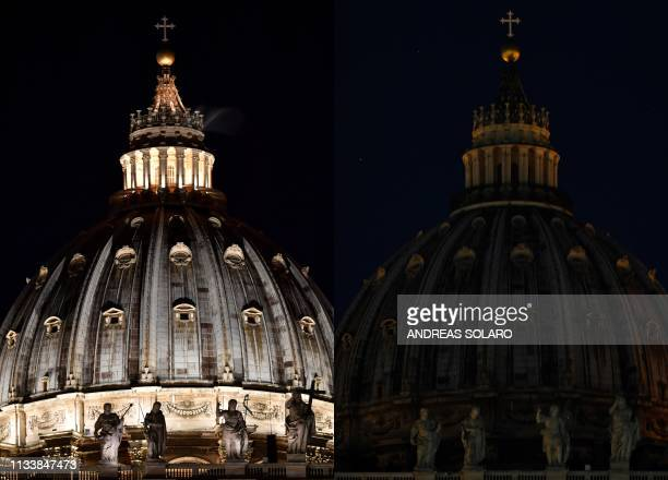 This combination of pictures created on March 30, 2019 shows the dome of St. Peter's basilica before and after being plunged into darkness for the...