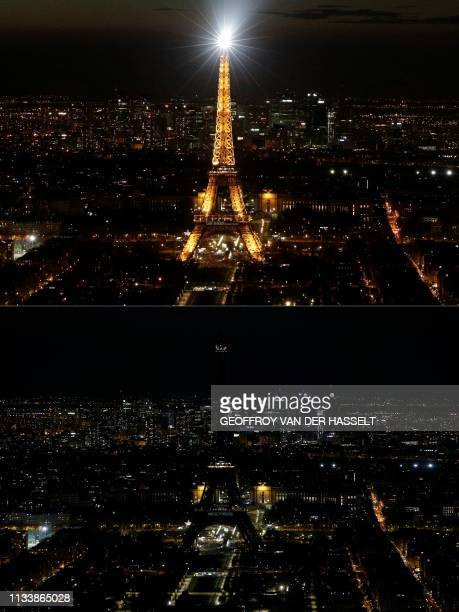 This combination of pictures created on March 30, 2019 shows the Eiffel Tower, illuminated , in Paris and switched-off during the a Earth Hour...