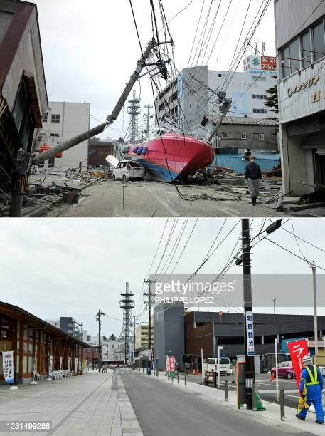 This combination of pictures created on March 4, 2021 shows a boat washed onto a street by the March 11 tsunami in Ishinomaki, Miyagi prefecture on...