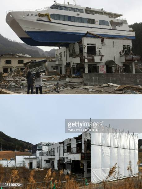 This combination of pictures created on March 4, 2021 shows a catamaran sightseeing boat washed up by the tsunami onto a two-storey tourist home in...