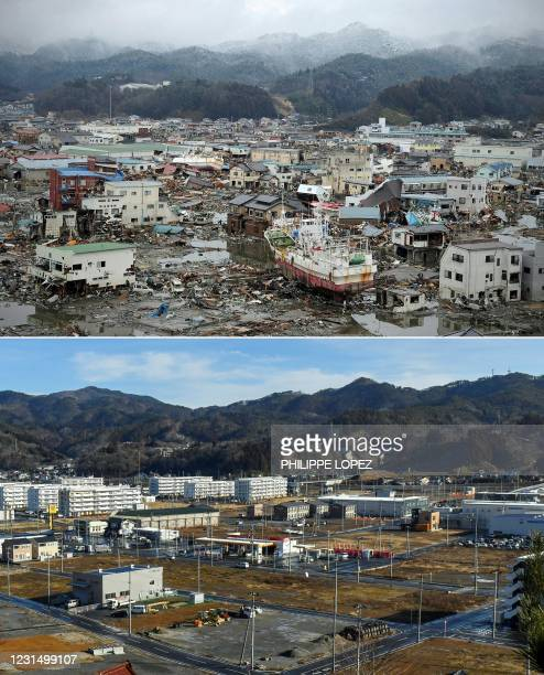 This combination of pictures created on March 4, 2021 shows a general view of damage caused by the March 11, 2011 tsunami, seen from a hill...