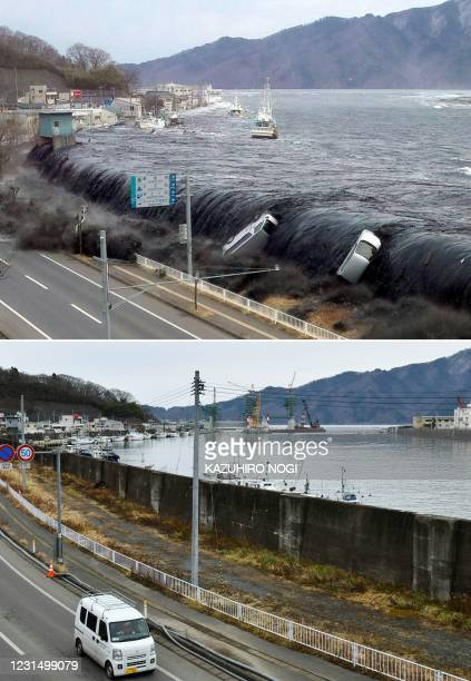 This combination of pictures created on March 4, 2021 shows a handout photo taken by a Miyako City official on March 11, 2011 and received from Jiji...