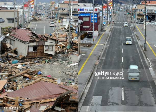 This combination of pictures created on March 4, 2021 shows a house - moved by the tsunami three days previously - blocking a street in the town of...
