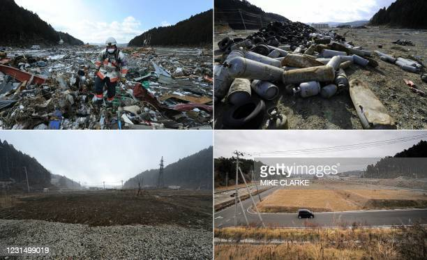 This combination of pictures created on March 4, 2021 shows a rescue worker walking through rubble in a tsunami-hit area of Minamisanriku, Miyagi...