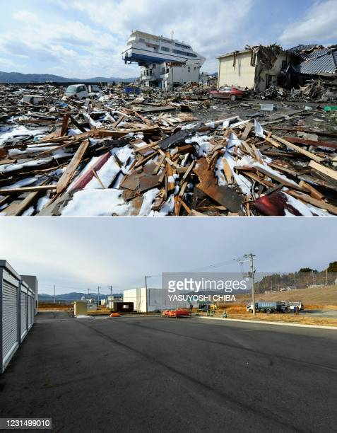 This combination of pictures created on March 4, 2021 shows a ship washed ashore by the tsunami onto a two-storey tourist home in Otsuchi, Iwate...
