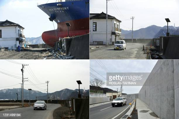 This combination of pictures created on March 4, 2021 shows a ship called Asia Symphony which ran aground during the March 11 tsunami in Kamaishi,...