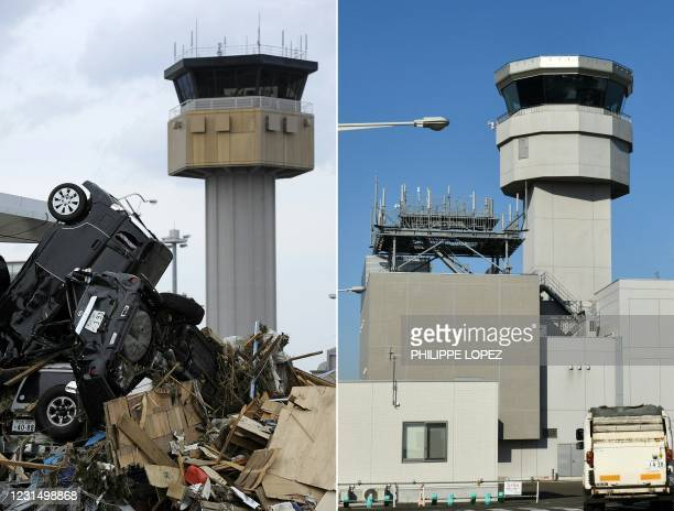 This combination of pictures created on March 4, 2021 shows cars piled up in front of the airport control tower of Sendai Airport in Natori, Miyagi...