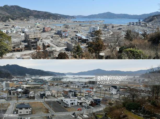 This combination of pictures created on March 4, 2021 shows damage caused by the March 11, 2011 tsunami seen from a hill overlooking the town of...