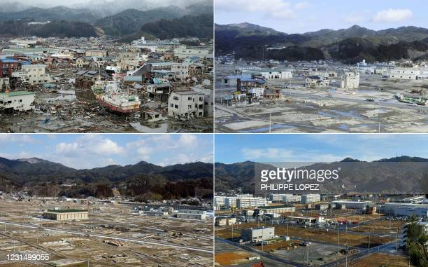 This combination of pictures created on March 4, 2021 shows damage caused by the March 11, 2011 tsunami, seen from a hill overlooking the city of...
