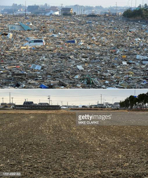 This combination of pictures created on March 4, 2021 shows debris covering a large tsunami-hit area of Natori, Miyagi prefecture on March 13, 2011;...