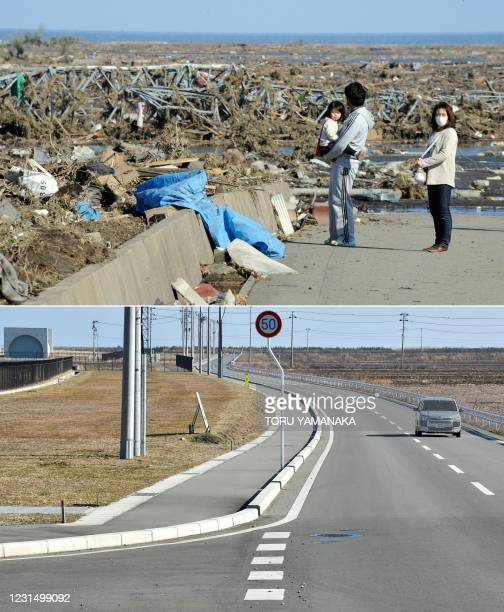 This combination of pictures created on March 4, 2021 shows local residents looking at debris brought by the huge tsunami in Minamisoma, Fukushima...