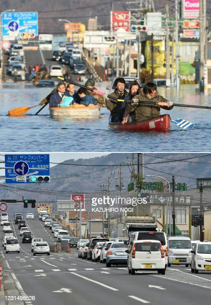 This combination of pictures created on March 4, 2021 shows people evacuating by boat down a road flooded by the tsunami waves in the city of...