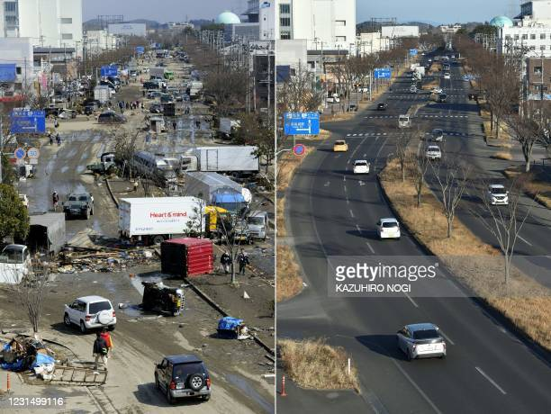 This combination of pictures created on March 4, 2021 shows people walking on a road covered with vehicles and debris deposited in a street in...