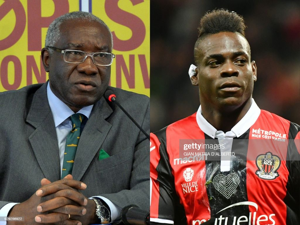 This combination of pictures created on March 8, 2018 shows Toni Iwobi (L), chief immigration spokesman of far-right League party on January 10, 2014, in Milan and Nice's Italian forward Mario Balotelli after scoring a goal during the French L1 football match Nice (OGCN) vs Lille (LOSC) on March 2, 2018 in Nice. Italian international footballer Mario Balotelli has blasted the country's first black senator Toni Iwobi, who was elected in March 4, 2018 general ballot for the far-right, anti-immigrant League party. Balotelli, who was born in Palermo to Ghanaian parents and has played 33 times for Italy, has long been a target for racist abuse. PHOTO / Gian Mattia D'Alberto AND