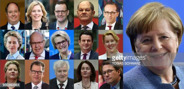 This combination of pictures created on March 9 2018 shows German Chancellor Angela Merkel and politicians named to become ministers in the new...