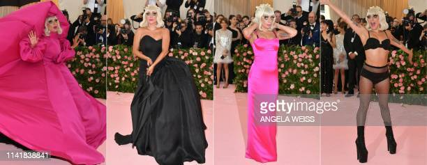 This combination of pictures created on May 06 2019 shows Singer/actress Lady Gaga arriving for the 2019 Met Gala at the Metropolitan Museum of Art...