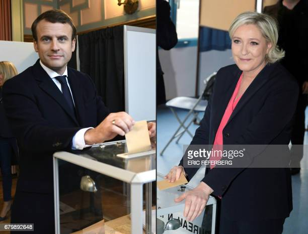 This combination of pictures created on May 07 2017 shows French presidential election candidate for the En Marche movement Emmanuel Macron casting...
