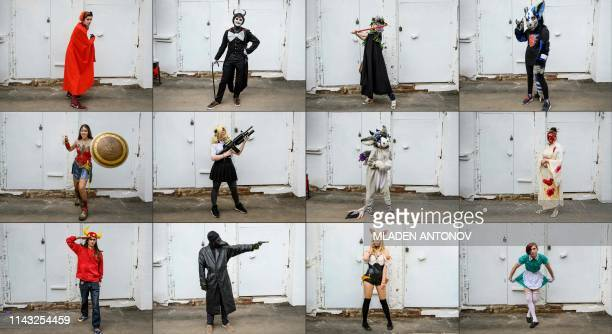 This combination of pictures created on May 12 2019 shows cosplayers posing during the Free Fandom Party cosplay festival at Izmailovo in Moscow