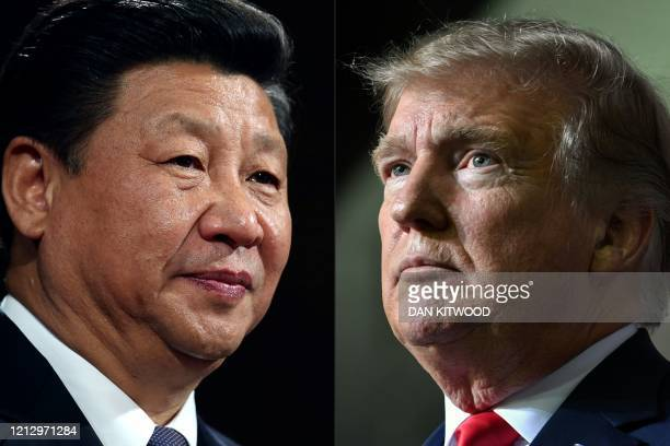 This combination of pictures created on May 14 2020 shows recent portraits of China's President Xi Jinping and US President Donald Trump US President...
