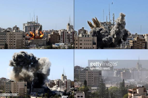 This combination of pictures created on May 15, 2021 shows the Jala Tower housing international media outlets in Gaza city controlled by the...