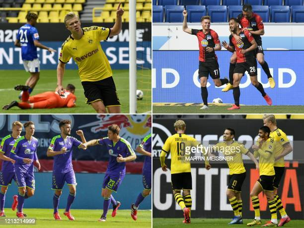 This combination of pictures created on May 16, 2020 shows Bundesliga players celebrating the first goals after the league resumed, some observing...