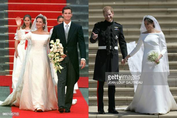 This combination of pictures created on May 19 2018 shows a file photo taken on October 4 1997 of Princess Cristina of Spain and Inaki Urdangarin...