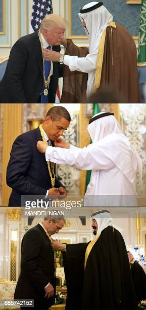 This combination of pictures created on May 20 2017 shows US President Donald Trump receiving the Order of Abdulaziz alSaud medal from Saudi Arabia's...