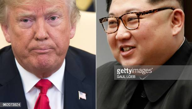 This combination of pictures created on May 24 2018 shows US President Donald Trump during a meeting in the Oval Office of the White House in...