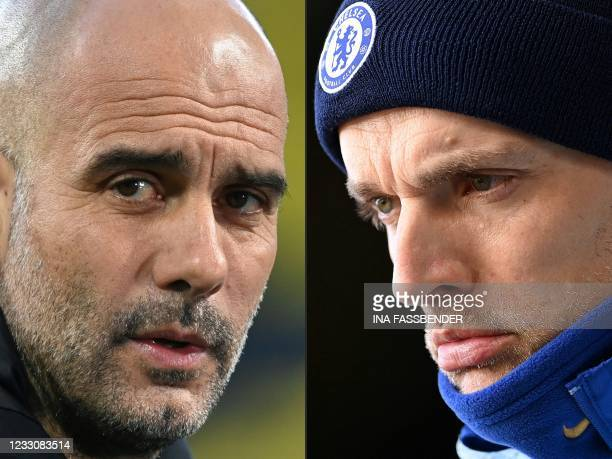 This combination of pictures created on May 24, 2021 shows Manchester City's Spanish manager Pep Guardiola prior to the UEFA Champions League...