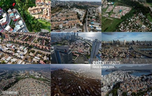 This combination of pictures created on May 26 2020 shows aerial views of the Chapinero neighborhood in Bogota the Urbiquinta Marsella housing...
