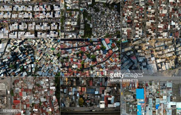 TOPSHOT This combination of pictures created on May 26 2020 shows aerial views of the Cerro 18 sector in the east of Santiago the PavaoPavaozinho...