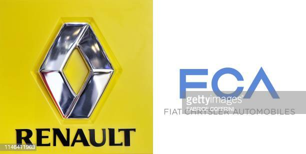 This combination of pictures created on May 27 2019 shows a photo of the logo of French carmaker Renault on March 2 2011 and a handout picture...