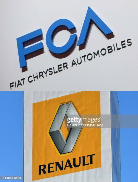 This combination of pictures created on May 27 2019 shows the logo of USItalian carmaker Fiat Chrysler Automobiles displayed on March 6 2019 during a...