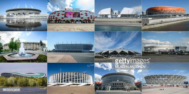 This combination of pictures created on May 29 2018 shows top the 67000seater Saint Petersburg Stadium in Saint Petersburg the 45000seater Spartak...