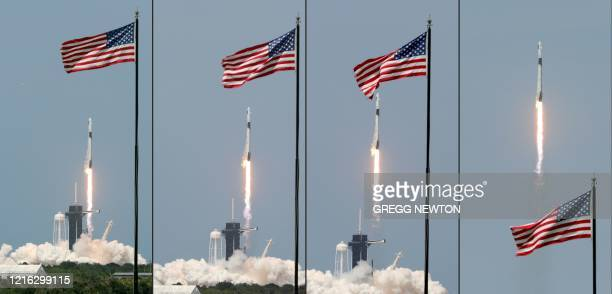 This combination of pictures created on May 30 2020 shows A SpaceX Falcon 9 rocket carrying the Crew Dragon spacecraft lifts off from launch complex...