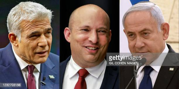 This combination of pictures created on May 5, 2021 shows Yair Lapid of the Yesh Atid party speaking during an interview in Jerusalem on March 7,...