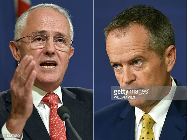 This combination of pictures created on May 8 2016 shows Australian Prime Minister Malcolm Turnbull speaking at a press conference in Sydney on May 6...