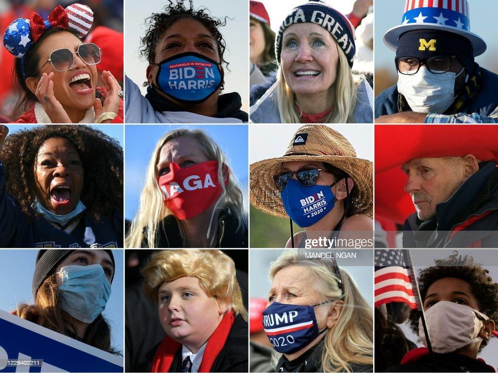 COMBO-US-VOTE-TRUMP-BIDEN-SUPPORTERS : News Photo