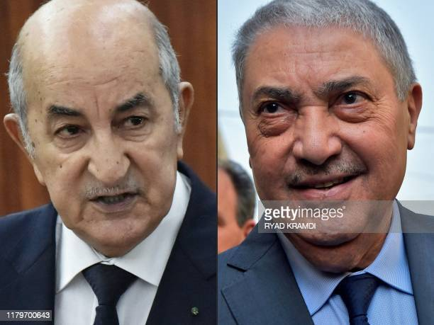 This combination of pictures created on November 03, 2019 shows Algerian former prime Minister Abdelmadjid Tebboune unveiling the main lines of the...