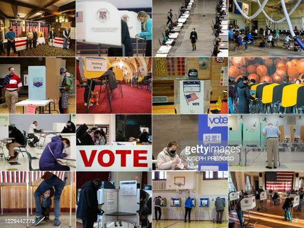 This combination of pictures created on November 03, 2020 shows : the five town's residents after voting during the historic midnight vote in...