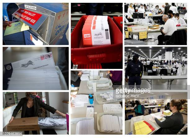 This combination of pictures created on November 04, 2020 shows a man drops off his mail-in-ballot at a dropbox in Salt Lake City, Utah, on October...