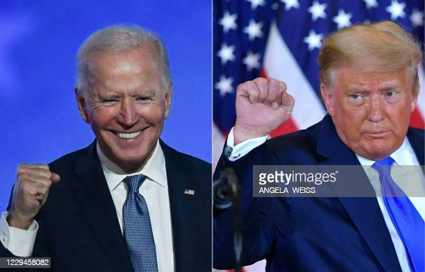 TOPSHOT This combination of pictures created on November 04 2020 shows Democratic presidential nominee Joe Biden in Wilmington Delaware and US...