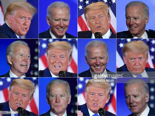 This combination of pictures created on November 04, 2020 shows Democratic presidential nominee Joe Biden in Wilmington, Delaware, and US President...