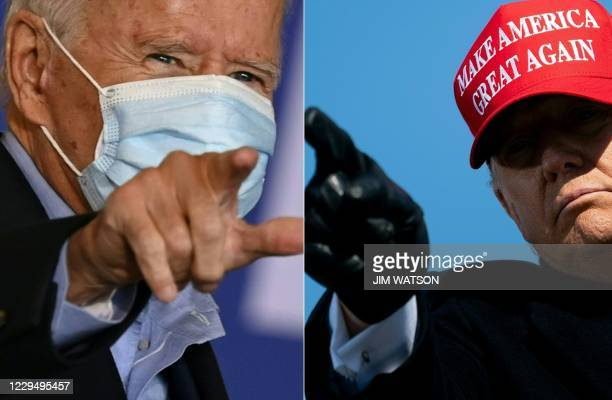 This combination of pictures created on November 06, 2020 shows Democratic presidential candidate Joe Biden on November 2, 2020 in Cleveland, Ohio...