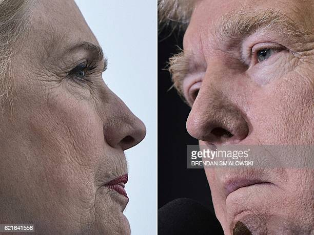 This combination of pictures created on November 07 2016 shows Democratic presidential nominee Hillary Clinton in Pembroke Pines Florida November 5...