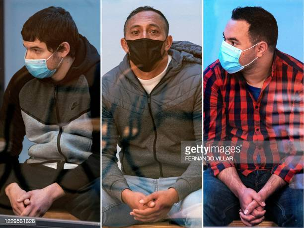 This combination of pictures created on November 10, 2020 shows Mohamed Houli Chemlal , Driss Oukabir and Said Ben Iazza, the three accused of...
