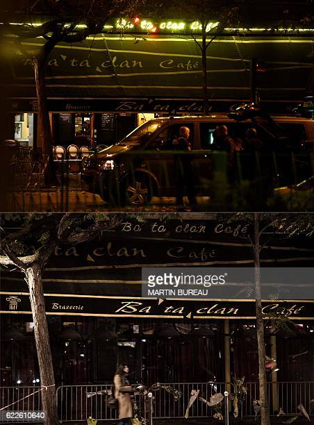 This combination of pictures created on November 11, 2016 shows a file picture of police officers standing in front of the Bataclan cafe near the...